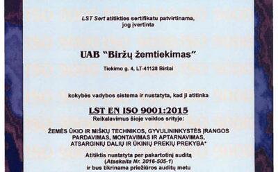 Biržų žemtiekime sėkmingai atliktas ISO standartų atitikties priežiūros auditas ir gautas pratęsto galiojimo ISO sertifikatas